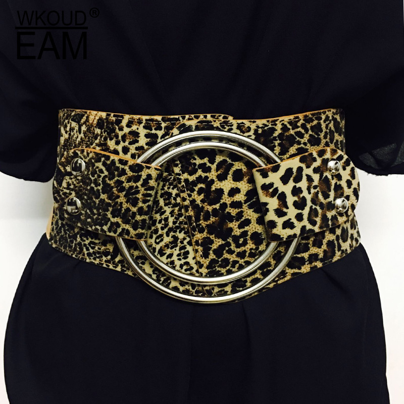 WKOUD EAM 2020 New Fashion Autumn Winter Trendy Wid Belt For Women Metal Rings Rivets Leopard Casual Korea Girdle Female A83