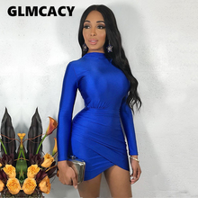 Women Casual Bandage Party Spring Dress Long Sleeve Bodycon Mini Dress