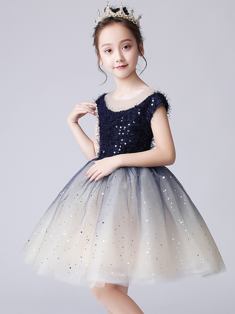 Small Host CHILDREN'S Dress Princess Dress Flower Boys/Flower Girls Wedding Dress Birthday Tutu Girls Piano Catwalks Costume Aut