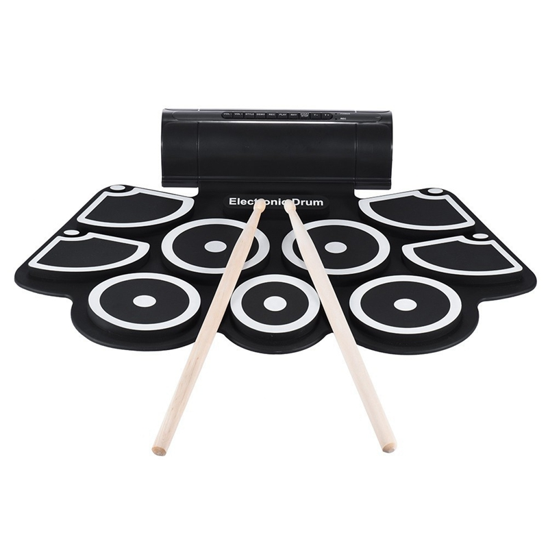 ABUO-Portable Roll Up Electronic USB MIDI Drum Set Kits 9 Pads Built-in Speakers Foot Pedals Drumsticks USB Cable For Practice