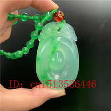 Carved Chinese Green Jadeite RUYI Pendant Necklace Charm Jewellery Fashion Lucky Amulet Gifts for Women Men Sweater chain(China)