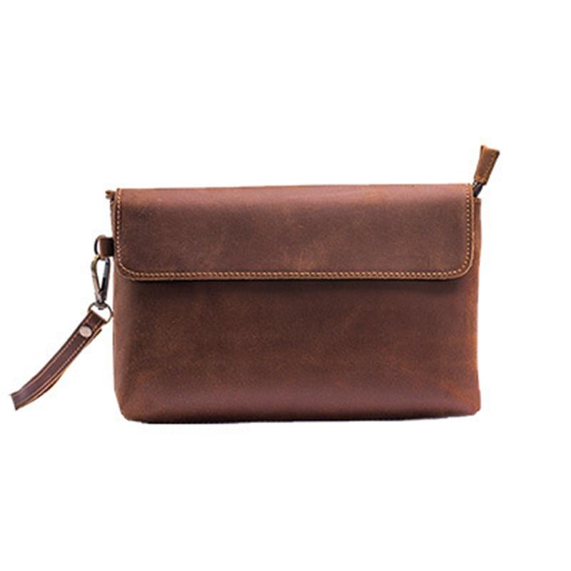 Crazy Horse Cowhide Men Clutch Briefcase Bag Vintage Travel Business Bag High Quality Male Purse Genuine Leather Wrist Handy Bag