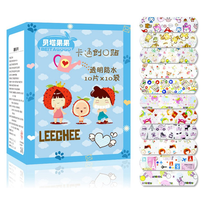 100Pcs/Box Variety Decor Patterns Bandages Kids Cute Cartoon Band Aid Children Wound Care Braces Supports Band Aid