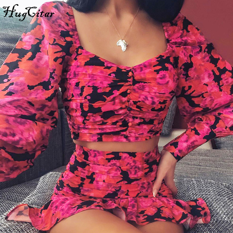 Hugcitar 2020 Long Puff Sleeve Floral Print Sexy Cute Crop Top Ruffles Skirt 2 Pieces Set Spring Women Streetwear Outfits Party