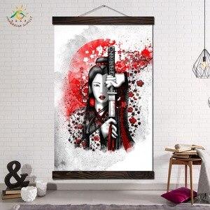 Japoński miecz Kimono kobieta reprodukcja plakat klasyczny przewiń malowanie na płótnie Wall Art obrazy na płótnie zdjęcia do salonu