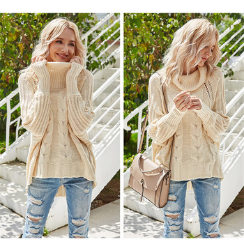 High Neckline Solid Casual Loose Regular Shift Sweaters  Women Fall 2020