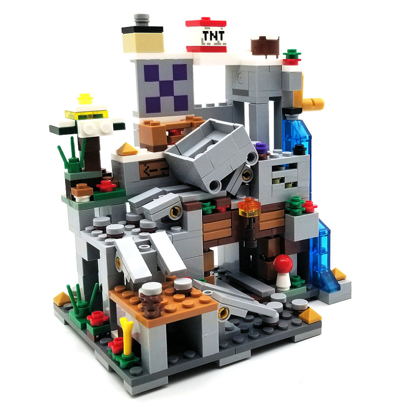 The Mine Mountain Cave Building Block With Steve Action Figures Compatible LegoINGlys MinecraftINGlys Sets Toys For Children 2