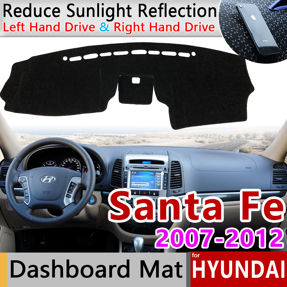 for Hyundai Santa Fe 2007 2008 2009 2010 2011 2012 CM Anti-Slip Mat Dashboard Cover Pad Sunshade Dashmat Protect Car Accessories