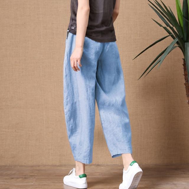 ShiMai Women's Cotton Linen Pants Elastic Waist Vintage Trousers Lady Loose Casual Pants S-2XL Retro Literary Cotton Trousers 3