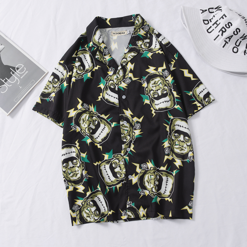 OSCN7 Casual Frankenstein Printed Short Sleeve Shirt Men Street 2020 Hawaii Beach Oversize Women Fashion Shirts For Men 444