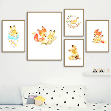 Cartoon Fox Rabbit Wreath Cloud Book Star Nordic Posters And Prints Wall Art Canvas Painting Animal Pictures For Kids Room