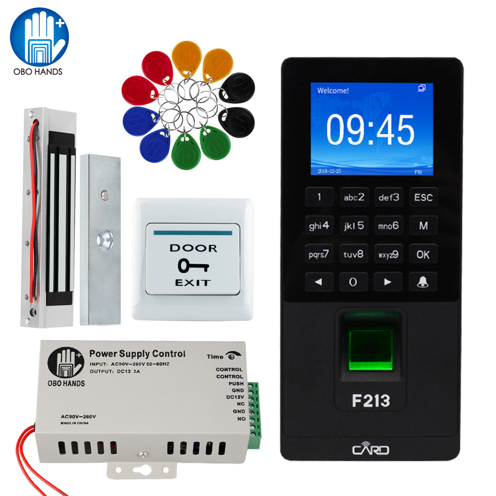 RFID Fingerprint Access Control System TCP/IP/USB Biometric Door Keypad DIY Electric Magnetic Strike Bolt Lock Employee Check-in
