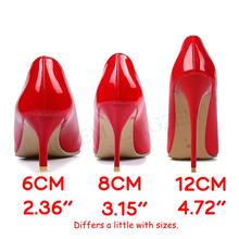 LAIGZEM FASHION Women Heels Pointy Toe Stiletto High 6/8/12CM Pumps Dress Wedding Work Basic Shoes Woman Big Size 33-47