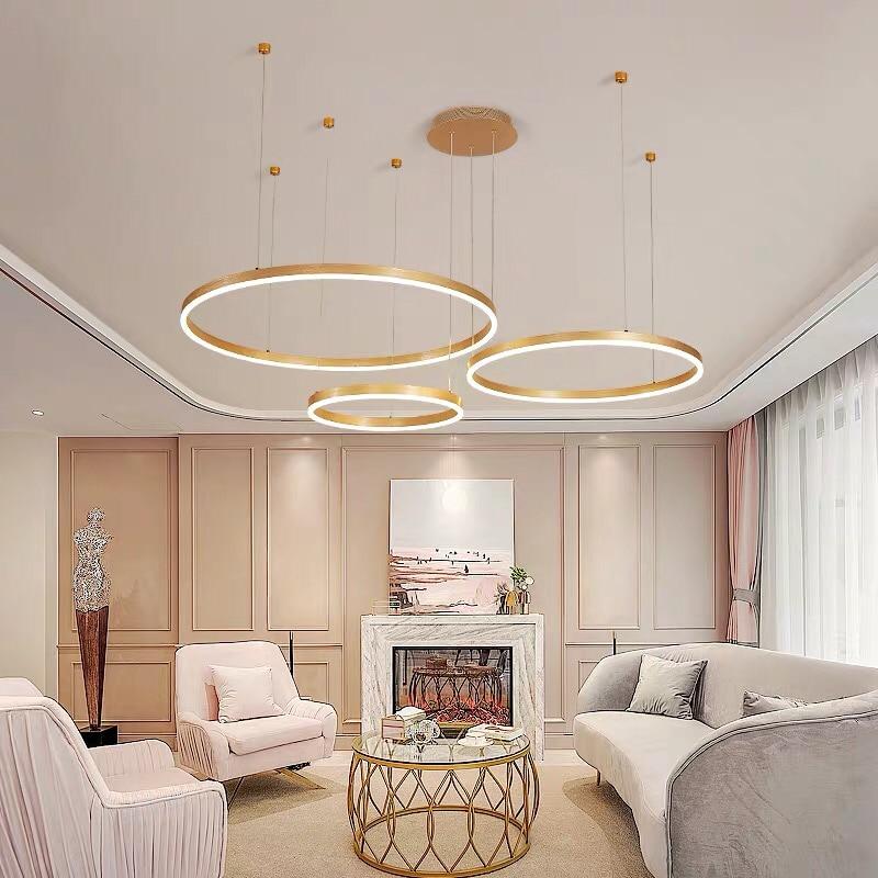 Postmodern LED Circle DIY Chandelier Light  Fixtures For Home living room shop restaurant  decoration 110v 220v