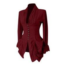 Женские блузки с длинным рукавом Ретро кружевная отделка на пуговицах винтажные нерегулярные фрак Готическая Блузка Верхняя одежда женские топы, блузы Mujer