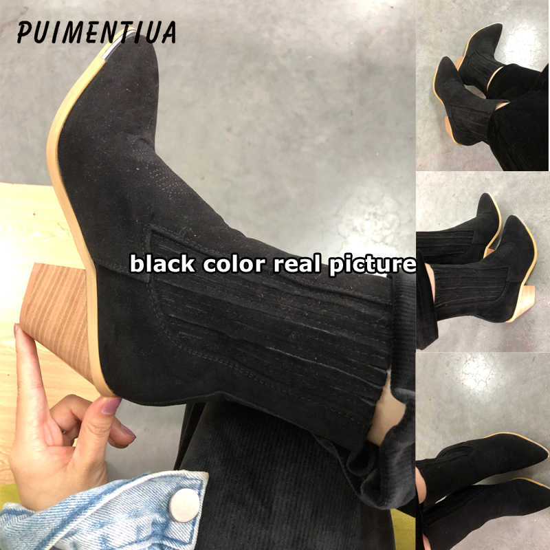 PUIMENTIUA Women Ankle Chelsea Boots Genuine Leather Slip-on Winter Snow Shoes Women  Boots Cow Suede Ladies Casual Botas