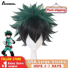 Anogol My Hero Academia Short Straight Green Black Boku no Midoriya Izuku High Temperature Fiber Synthetic Cosplay Wig For Party