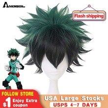Anogol My Hero academic короткий прямой зеленый черный Boku no Midoriya Izuku высокотемпературный синтетический парик для косплея Вечерние