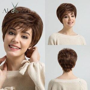 Image 1 - ALAN EATON krótki warstwowy czarny brązowy blond popiół szary peruki dla kobiet proste srebrne peruki syntetyczne żaroodporne fryzura Pixie Lady