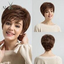 ALAN EATON pelucas de pelo sintético para mujer postizo de capas cortas en color negro, marrón, Rubio, gris ceniza, de corte recto y plateado resistente al calor