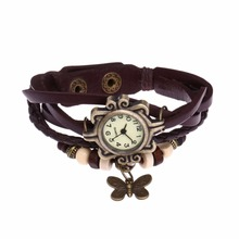 Leather Bracelet Watch Women Charm Leaf Ethnic Geneva Style Bracelets&Bangles Vi