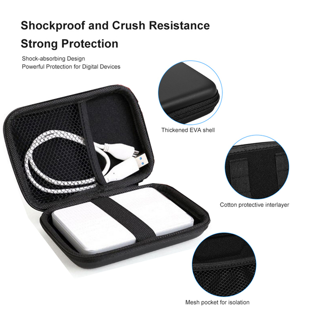 External Storage Hard Case HDD SSD Bag For 2.5 Hard Drive Power Bank USB Cable Charger Power Bank Earphone Headphone Cases Black 4