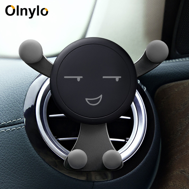 Holder For Phone In Car Mobile Gravity Air Vent Monut Smile Face Stand For IPhone 11 8 7 Plus Auto Support Stand Car Accessories