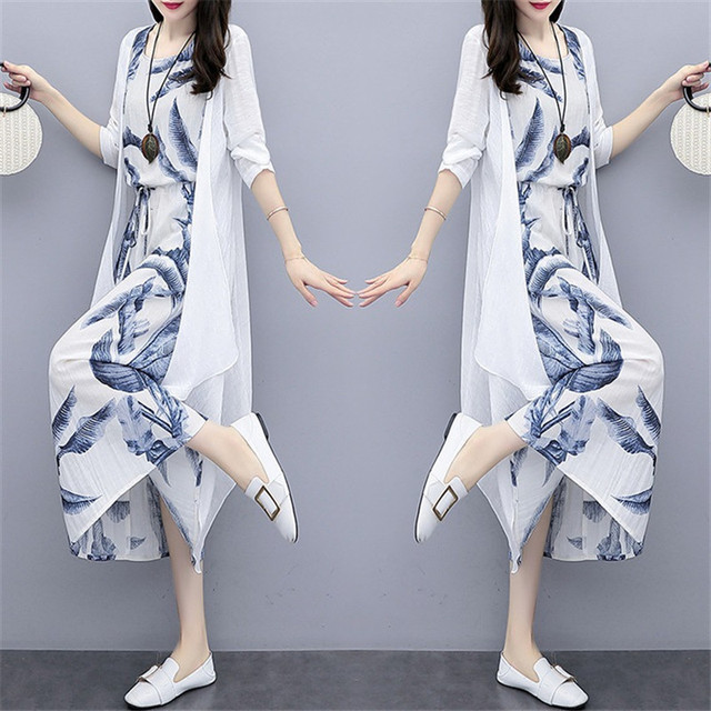 Cotton And Linen Dress Suit Plus Size 2020 Spring Summer Loose National Style Printed Women's Elegant Dress Two-piece Set W2050 1