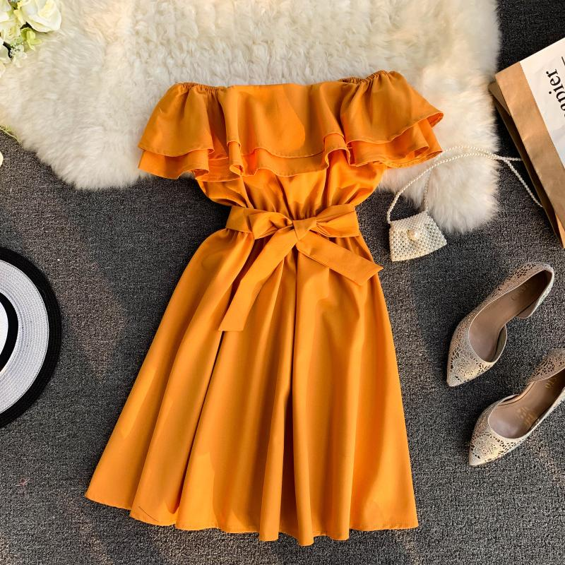 Neploe New Arrival Strapless Women Short  Dress 2019 Solid Summer Slash Neck Vestido Korean Ruffles Sashes One Size Robe 43077