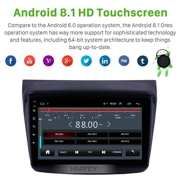 """Harfey Car Multimedia lettore 2din 9 """"Android 8.1 GPS per auto Radio per MITSUBISHI PAJERO Sport/L200/2006 + Triton/2008 + PAJERO 2010"""