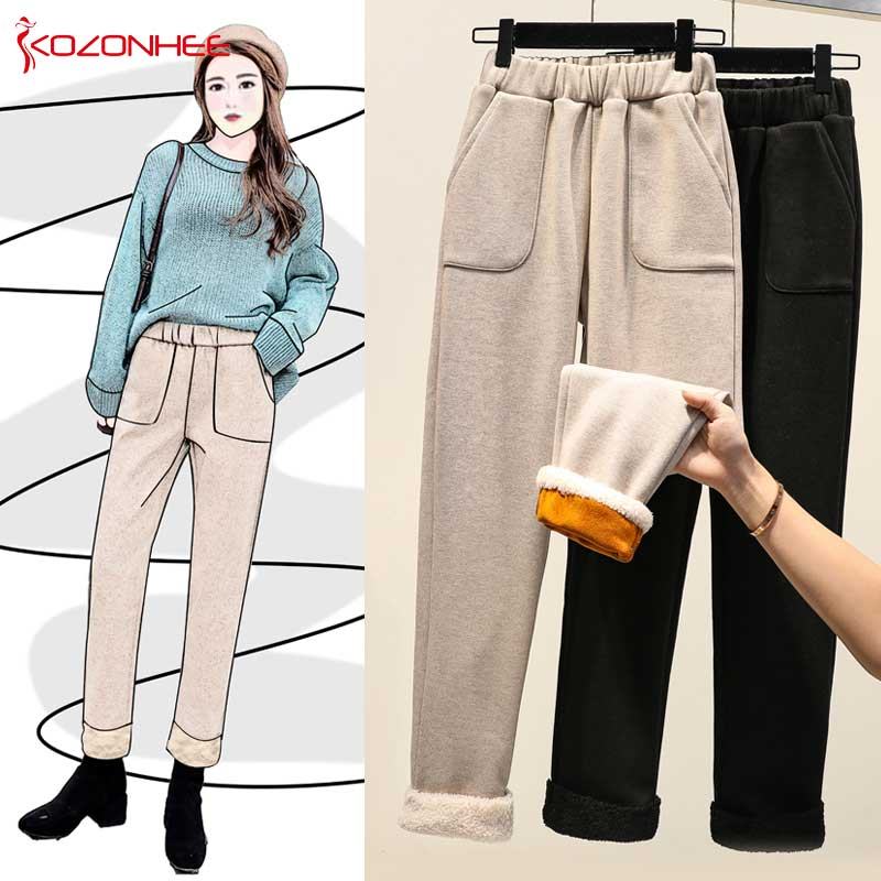 Large Size Velvet Wide Leg Winter Pants Women Thicken Straight Pants Warm Pants Paige Casual Trousers Plus Size   #23