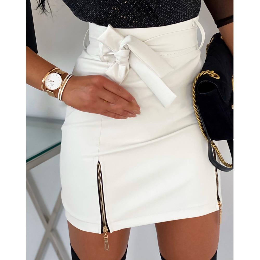2020 Women Sexy Fashion Skirts High Waist PU Leather Sashes Zipper Pencil Mini Skirt Autumn Winter White Black Skirt