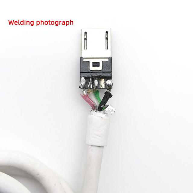 10PCS/LOT  Micro USB 4Pin 5in  Male connector plug Black/White welding Data OTG line interface DIY data cable accessories
