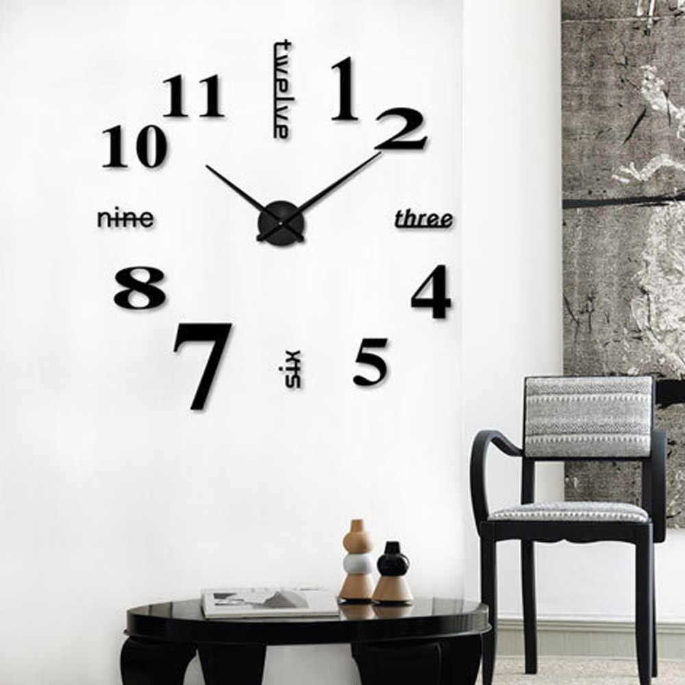 Novo relógio de parede quartzo 3d diy relógio de parede apressado espelho adesivo sala estar decoração