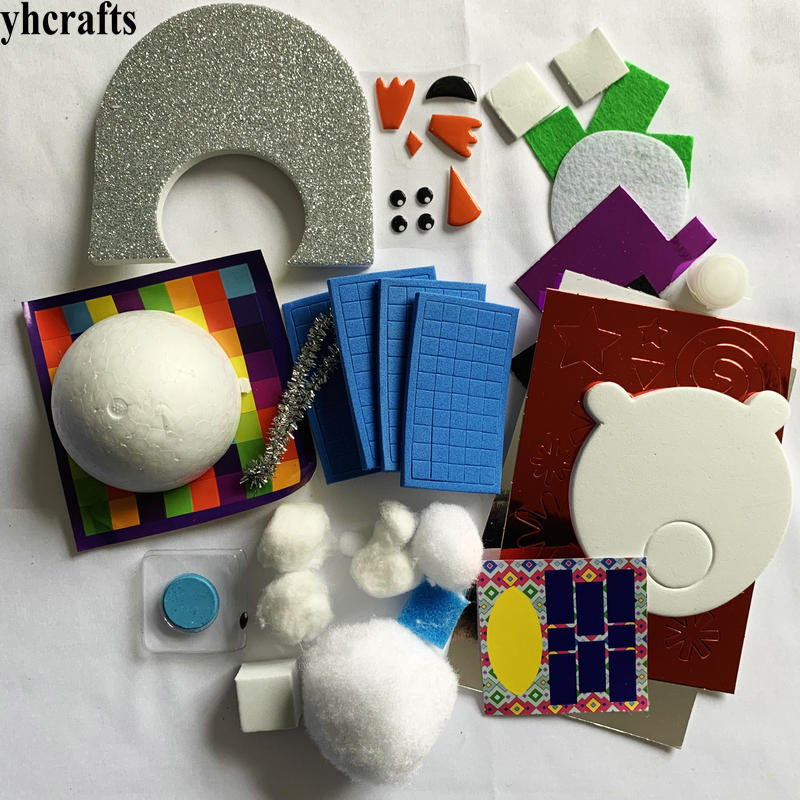 1bag/LOT.DIY Snowman Penguin Polar Bear Foam Crafts Kit Plus Stencil And Sticker Set Holiday Projects Early Educational DIY Toy