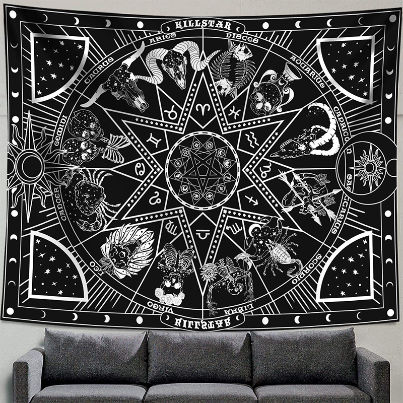 Astrology Sun Moon Constellation Tapestry Wall Hanging Witchcraft Decoration Bedroom Small Celestial Psychedelic Tapestry Fabric