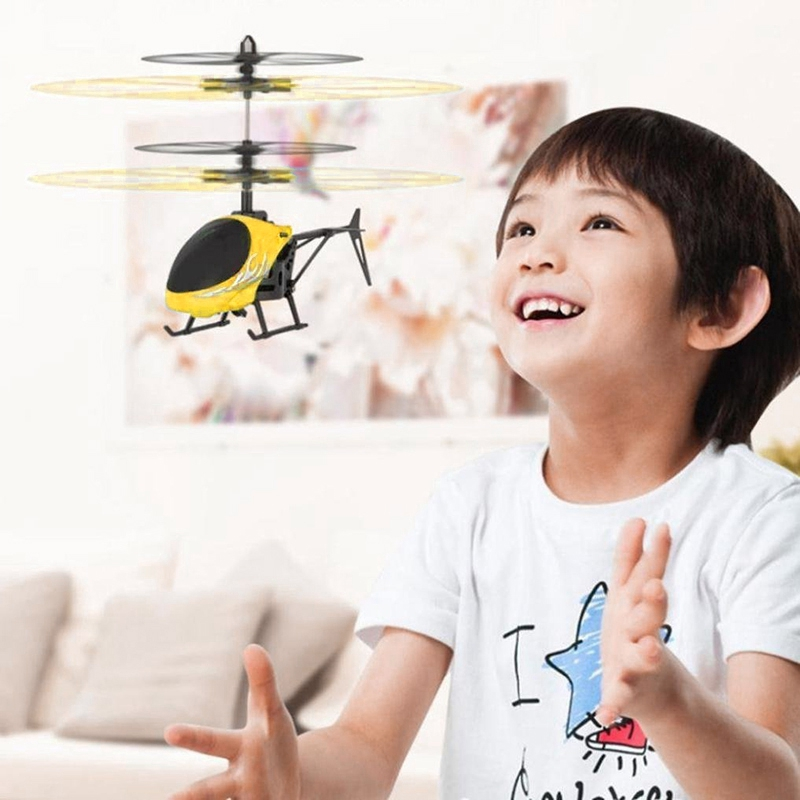 Flying Mini RC Induction Aircraft Flashing Light Toys RC Airplanes Intelligent Hand Induction Remote Control Airplane Toy Yellow