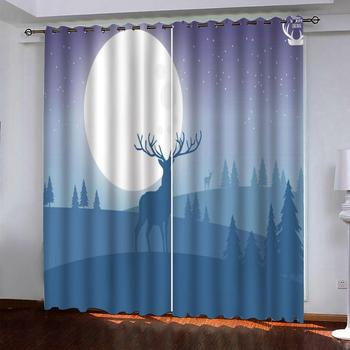 Blackout 3D Curtains animal forest Decor Kids Room Curtains Luxury Curtain Living Room Bedroom Drapes