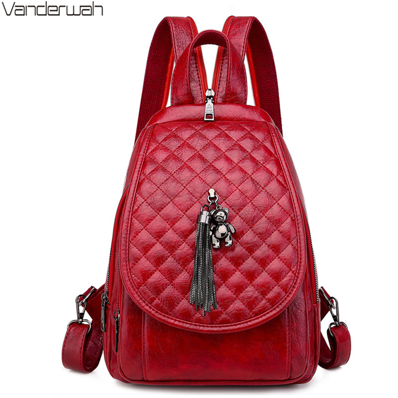 Spring Travel Multifunction Woman Small Backpack Fashion Bear Tress Pendant Backpacks For Teenager Girls 2020 Mochilas Feminina