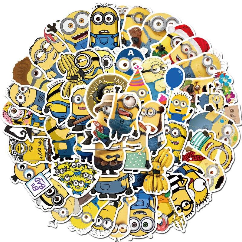 Мультфильм милый маленький желтый человек Миньоны настенные наклейки для детской комнаты украшения дома Diy ПВХ наклейки детский подарок 3d ...