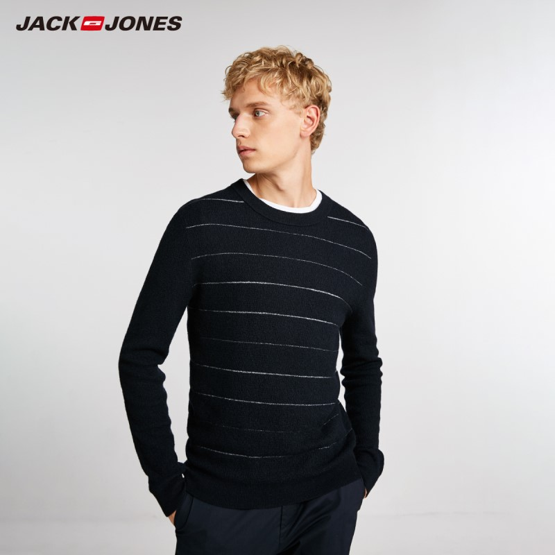 JackJones Autumn Men's 100% Wool Sweater Contrast Striped Round Neck Casual Sweater Top 218324556