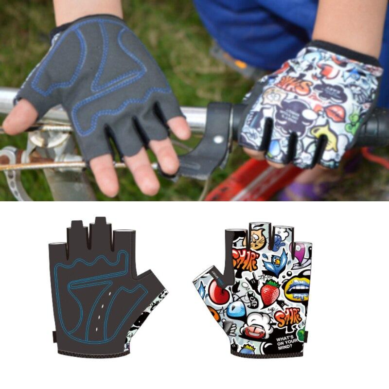Mountain Bike Riding Outdoor Sports Fitness Short Fingers Children Half Gloves