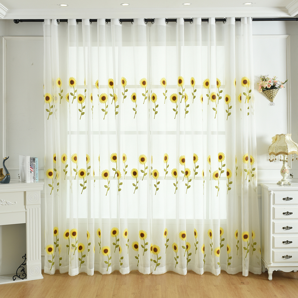 Pastoral Sunflower Tulle Sheer For Children S Room Bedroom Kitchen Window Curtains Embroidered Voile Treatment Drapes Buy At The Price Of 7 19 In Aliexpress Com Imall
