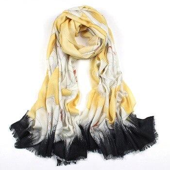 2020 winter fashion floral print cashmere+wool large pashmina women scarf 80*190cm high quality