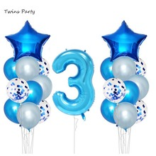 Twins Party 3rd Birthday Balloons Decorations Third Supplies Years Happy Banner Foil