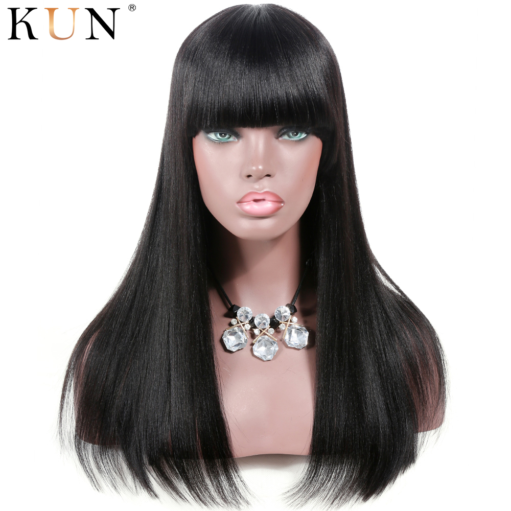 Yaki Straight Human Hair Wig With Bangs Brazilian Remy Lace Front Human Hair Wigs Pre Plucked For Women 13x4 13x6 Lace Front Wig
