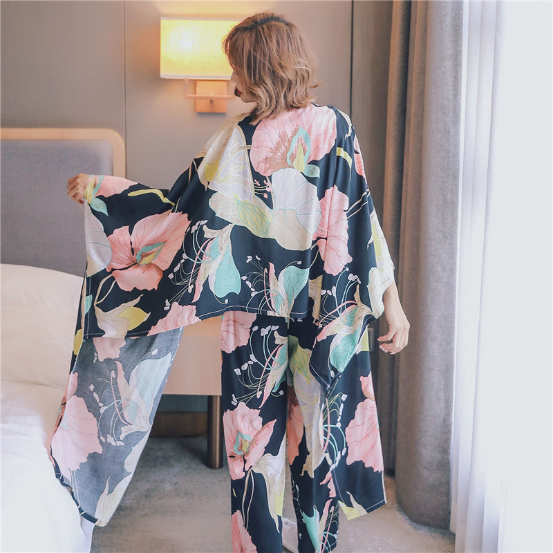 2020 JULY'S SONG 4 Piece Spring Summer Women Pajamas Sets Floral Printed Viscose Robe Top and Shorts Female Sleepwear Night Suit 2