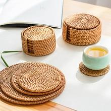 籐プレースマットコースター断熱ソーサー茶コーヒーマグカップティーポット皿ポットパッドボウルトレイ手織りキッチンテーブルアクセサ