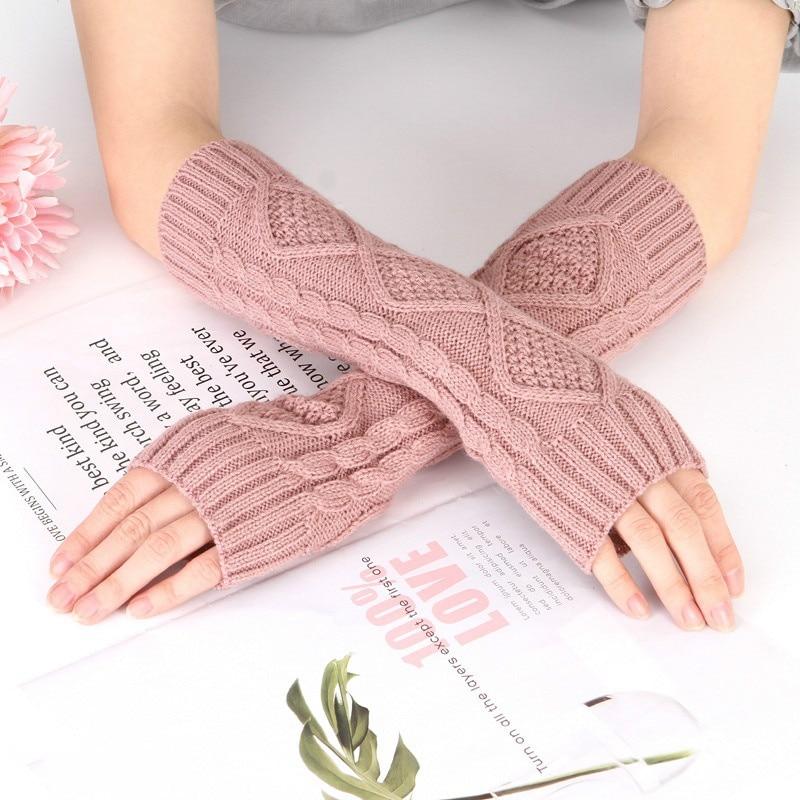 Fingerless Knitted Gloves Long Gloves Cute Mittens Fashion Unisex Men Women Arm Warmer Gloves