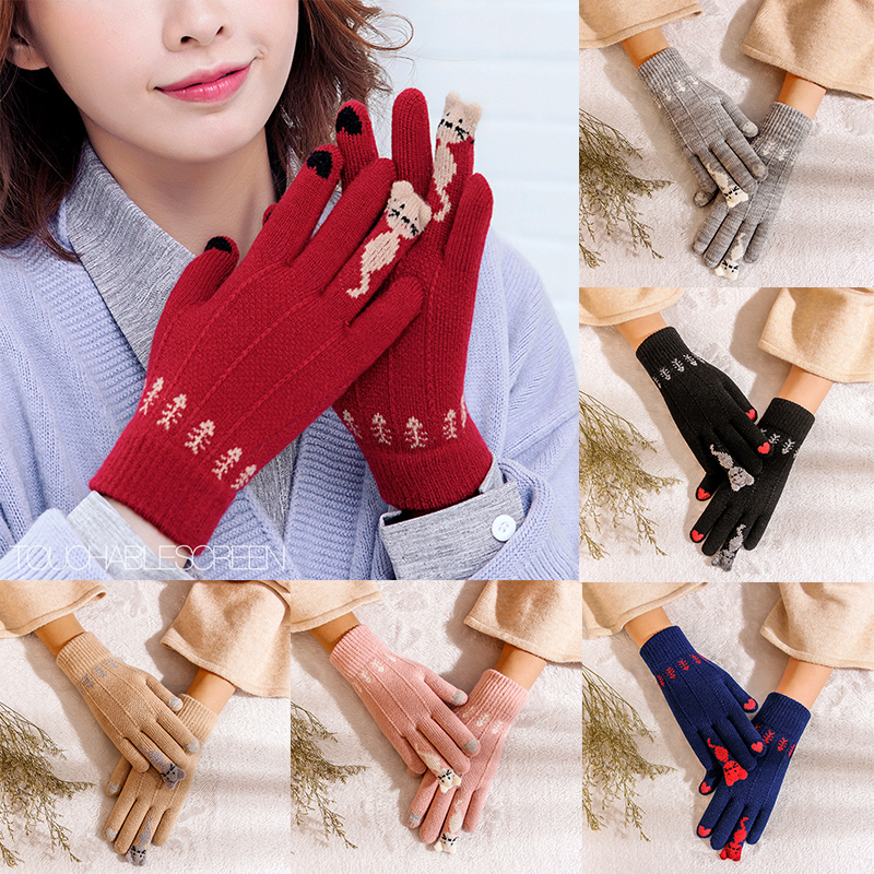 New Warm Winter Knitted Full Finger Gloves Mittens Women Cute Cartoon Cats Touchable Screen Gloves Handschoenen Guantes варежки